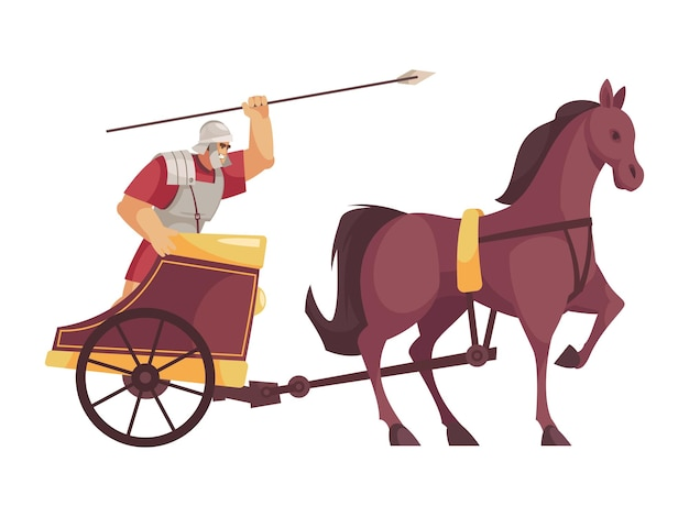 Cartoon icon with gladiator riding cart