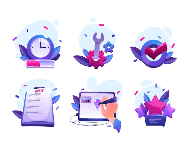 Cartoon icons of designer work process