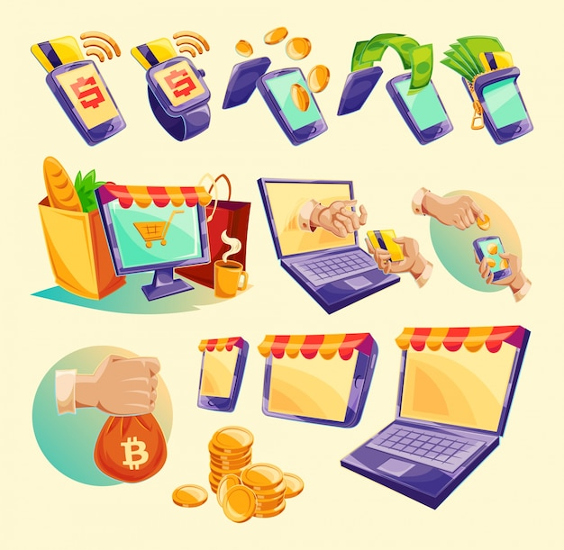 Cartoon icons of devices for online payments