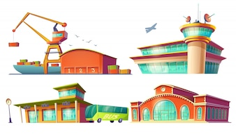 Cartoon icons of bus station, airport, sea port