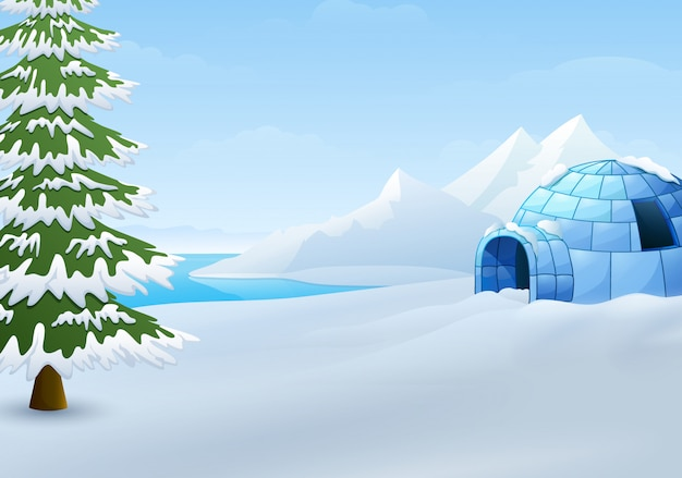 Cartoon of igloo with fir trees and mountains in winter illustration