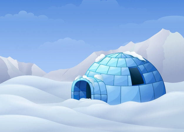 Cartoon of igloo with mountains in winter illustration