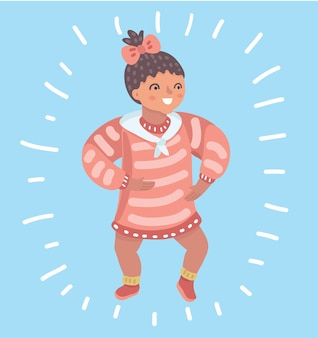Cartoon illustation of infant child baby girl toddler trying to walk