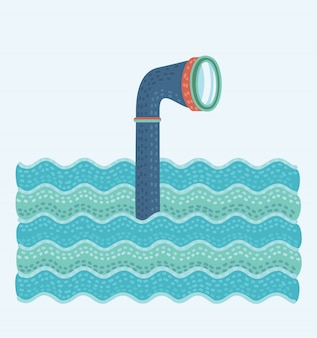 Cartoon illustation of metal periscope in the waves above the water.