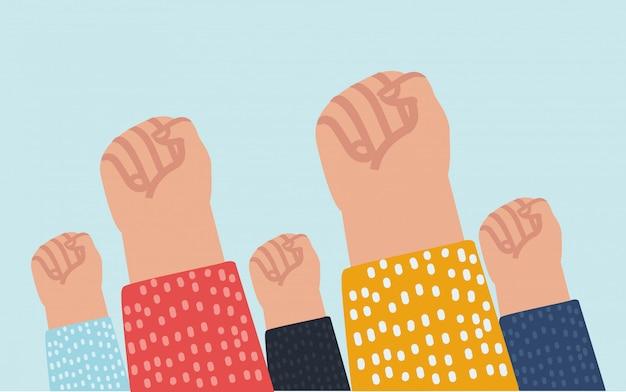 Мультяшная иллюзия кулаков вверх в знак протеста.