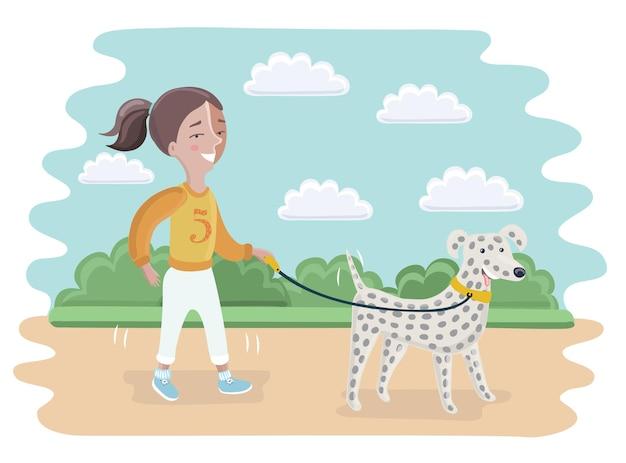 少女と犬のダルメシアンの歩行の漫画イラスト