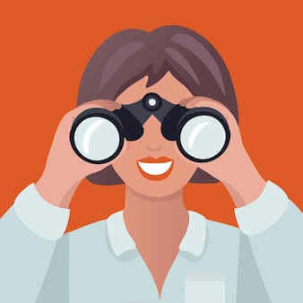 쌍안경을 들고 여자의 만화 illustation