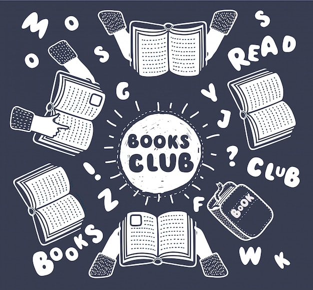 Cartoon illustation of reading club. open books in human hands and letters on table with hands top view illustration. funny outline composition in modern style on black background.