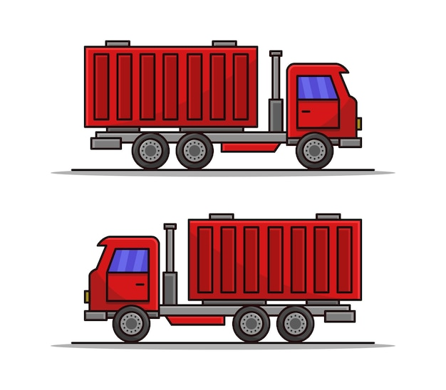 Cartoon illustrated container truck