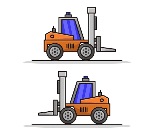 Cartoon illustrated forklift set