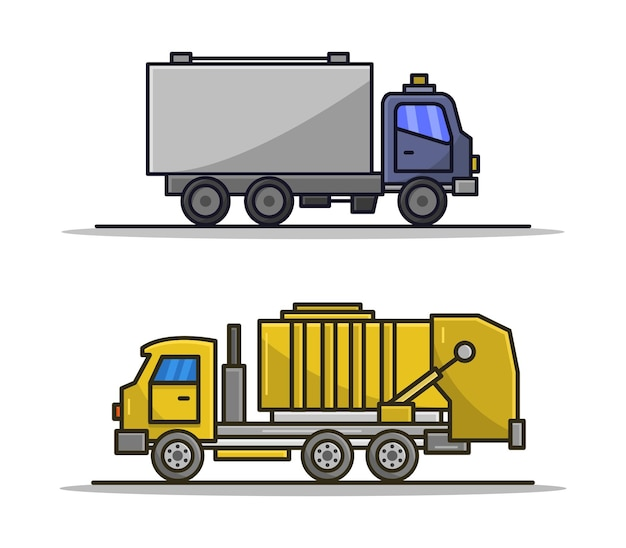 Cartoon illustrated garbage truck and truck