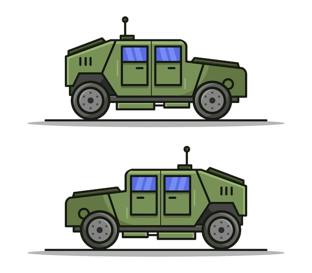 Cartoon illustrated military jeep