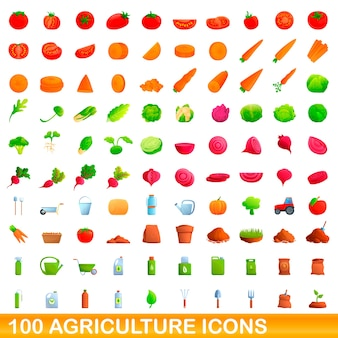 Cartoon illustration of agriculture icons set isolated on white
