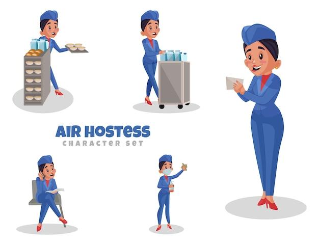 Cartoon illustration of air hostess character set