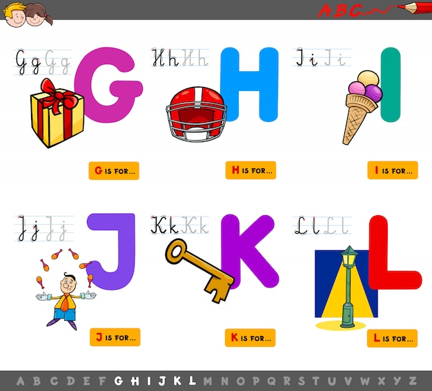 Cartoon illustration of alphabet educational set