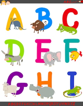 Cartoon illustration of alphabet set with animals