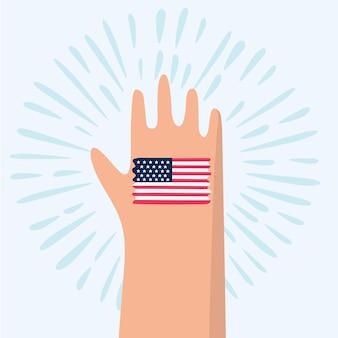 Cartoon illustration of american flag painted on hand