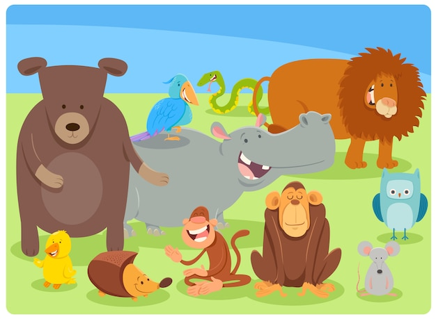 Cartoon illustration of animal characters group