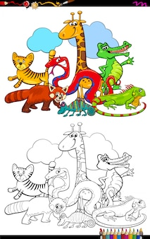 Cartoon illustration of animals group coloring book