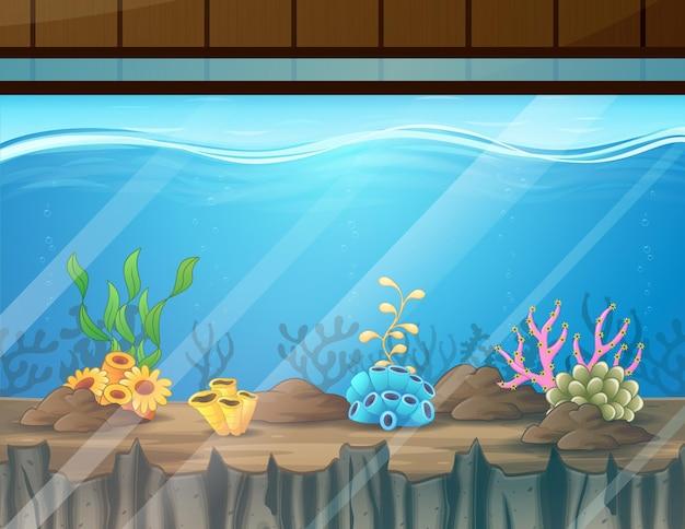 Cartoon illustration of aquarium with coral decoration