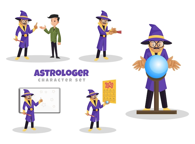 Cartoon illustration of astrologer character set