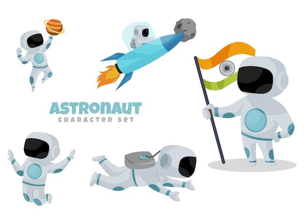 Cartoon illustration of astronaut character set