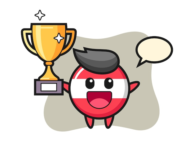 Cartoon illustration of austria flag badge is happy holding up the golden trophy