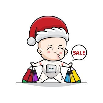 Cartoon illustration of baby santa astronaut carrying shopping bags