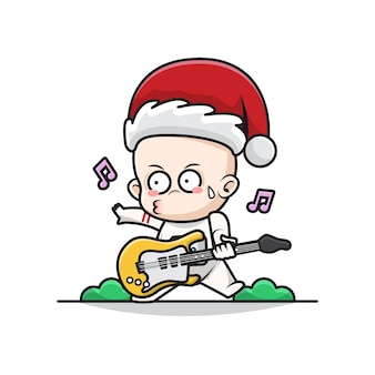 Cartoon illustration of baby santa astronaut playing guitar