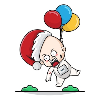 Cartoon illustration of baby santa astronaut with shocked face flying with balloons