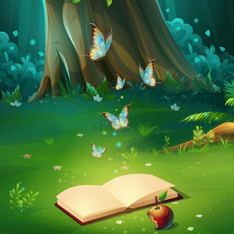 Cartoon illustration of background forest glade with book. bright wood with hares, butterflies, book, apple.