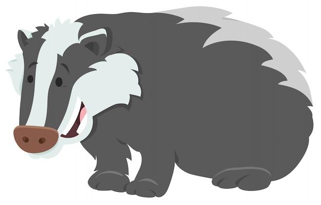 Cartoon illustration of badger animal character