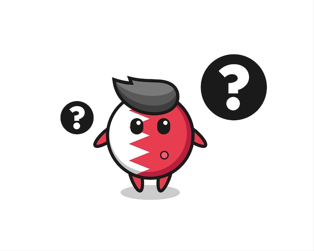 Cartoon illustration of bahrain flag badge with the question mark , cute style design for t shirt, sticker, logo element