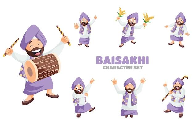 Cartoon illustration of baisakhi character set