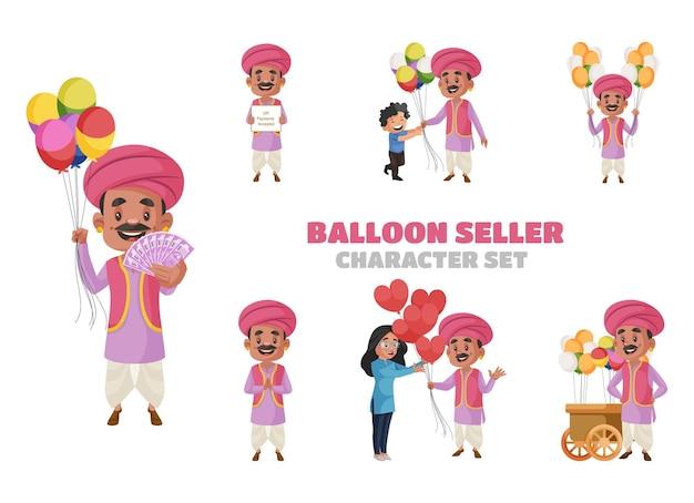 Cartoon illustration of balloon seller character set