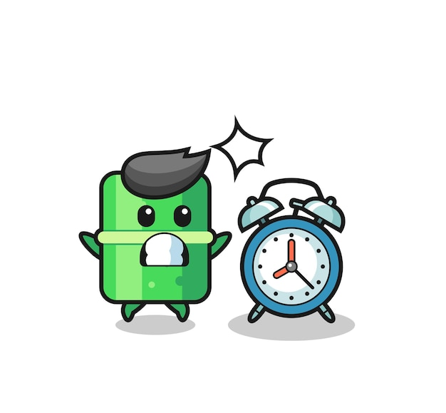 Cartoon illustration of bamboo is surprised with a giant alarm clock , cute style design for t shirt, sticker, logo element