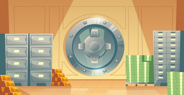 Cartoon illustration of bank vault inside, metallic iron safe door.