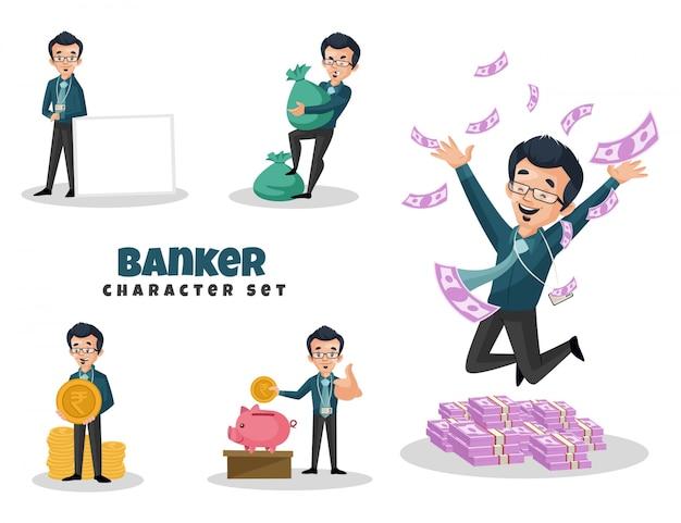 Cartoon illustration of banker character set