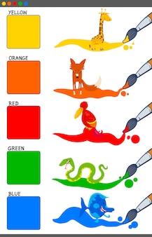 Cartoon illustration of basic colors with animas