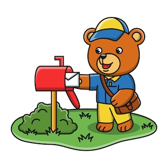 Cartoon illustration of a bear working as a mail carrier