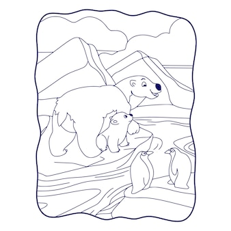 Cartoon illustration bears and penguins are on an ice cube book or page for kids black and white