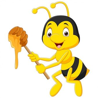 Cartoon illustration bee holding honey