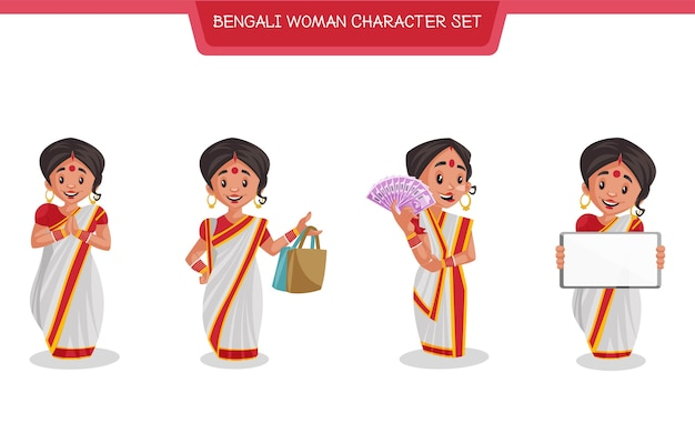 Cartoon illustration of bengali woman character set