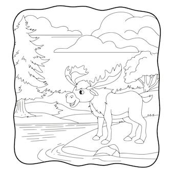 만화 삽화 큰 사슴이 강 옆에 서 있거나 어린이 흑백 페이지