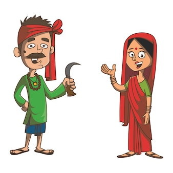 Cartoon illustration of bihar couple.