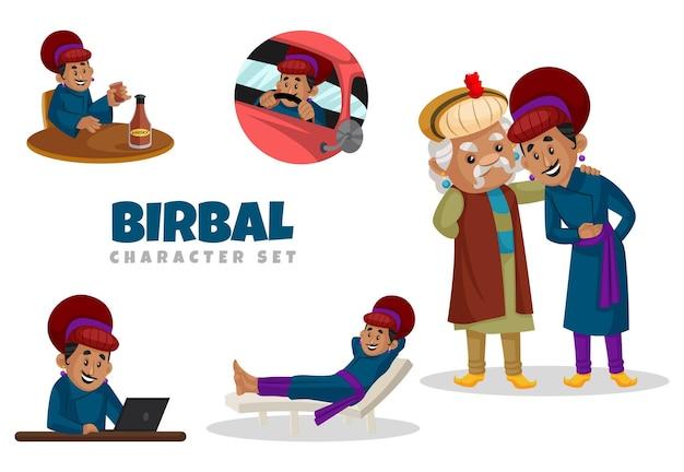 Cartoon illustration of birbal character set