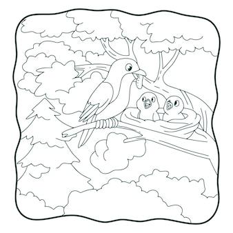 漫画のイラスト鳥は黒と白の子供のための木の本やページに食べ物やとまり木をもたらします