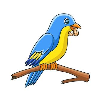 漫画イラスト鳥は木の幹で食べ物を食べる