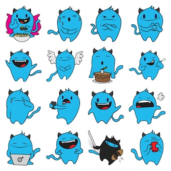 Cartoon illustration of blue monster set