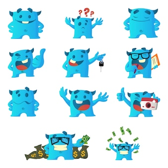 Cartoon illustration of blue monster set.